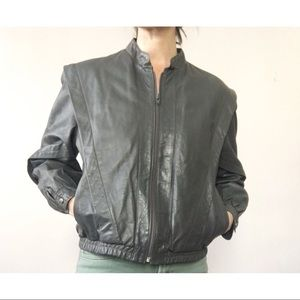 Vintage 80s Leather Jacket Grey L